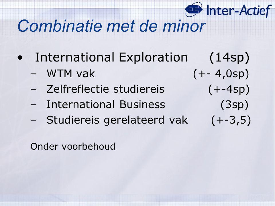 Combinatie met de minor International Exploration (14sp) –WTM vak (+- 4,0sp) –Zelfreflectie studiereis (+-4sp) –International Business (3sp) –Studiere