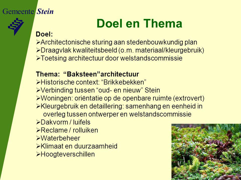 Gemeente Stein Doel en Thema Doel:  Architectonische sturing aan stedenbouwkundig plan  Draagvlak kwaliteitsbeeld (o.m. materiaal/kleurgebruik)  To