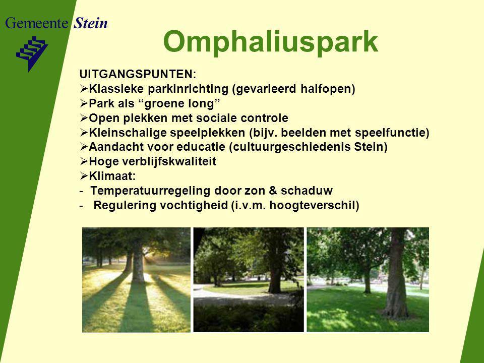 Gemeente Stein Omphaliuspark UITGANGSPUNTEN:  Klassieke parkinrichting (gevarieerd halfopen)  Park als groene long  Open plekken met sociale controle  Kleinschalige speelplekken (bijv.