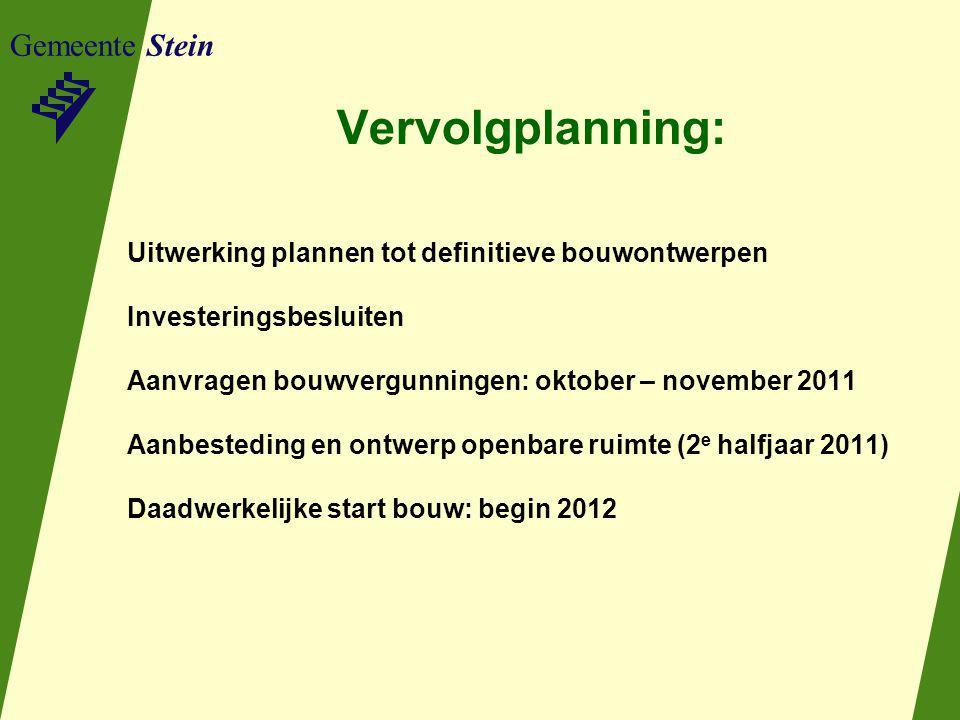 Gemeente Stein Vervolgplanning: Uitwerking plannen tot definitieve bouwontwerpen Investeringsbesluiten Aanvragen bouwvergunningen: oktober – november
