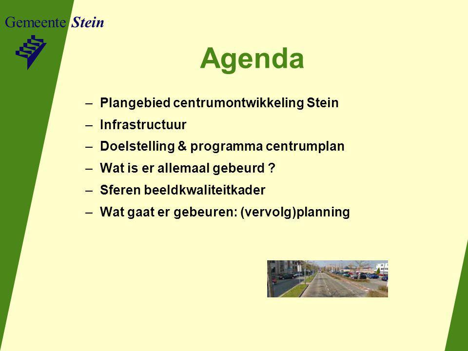 Gemeente Stein Agenda –Plangebied centrumontwikkeling Stein –Infrastructuur –Doelstelling & programma centrumplan –Wat is er allemaal gebeurd ? –Sfere