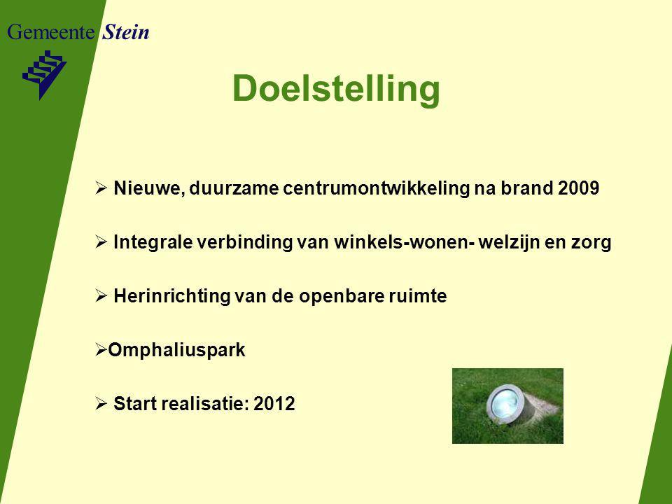 Gemeente Stein Doelstelling  Nieuwe, duurzame centrumontwikkeling na brand 2009  Integrale verbinding van winkels-wonen- welzijn en zorg  Herinrichting van de openbare ruimte  Omphaliuspark  Start realisatie: 2012