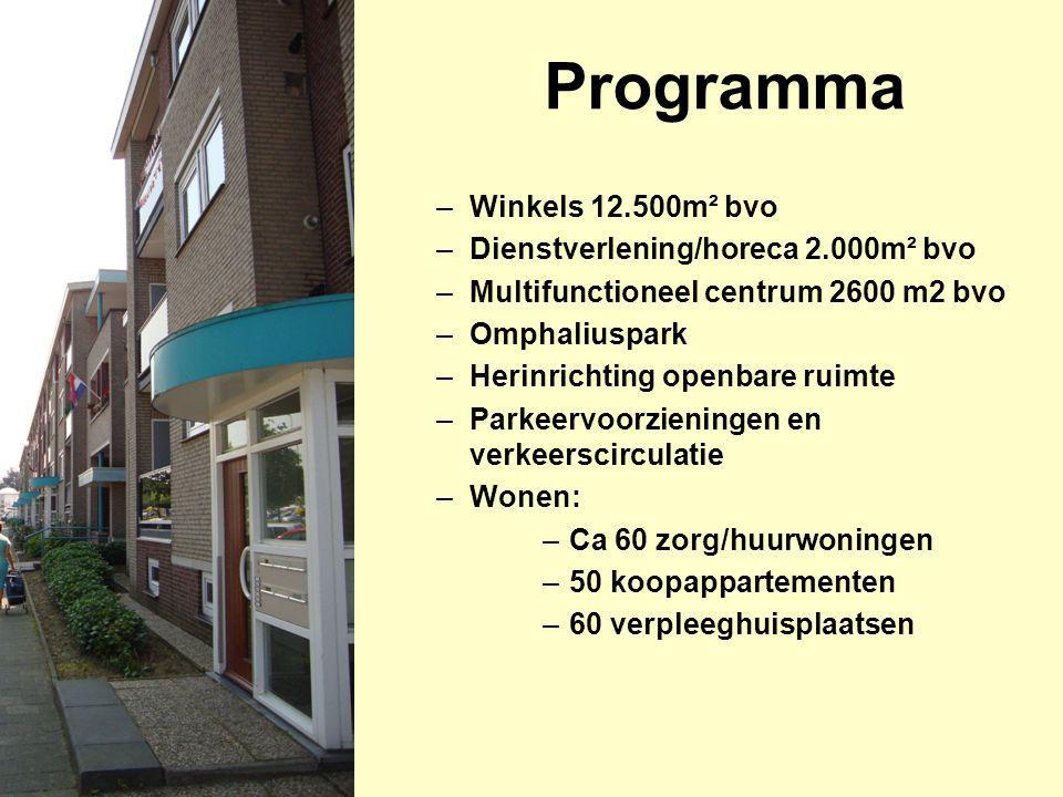 Programma –Winkels 12.500m² bvo –Dienstverlening/horeca 2.000m² bvo –Multifunctioneel centrum 2600 m2 bvo –Omphaliuspark –Herinrichting openbare ruimt