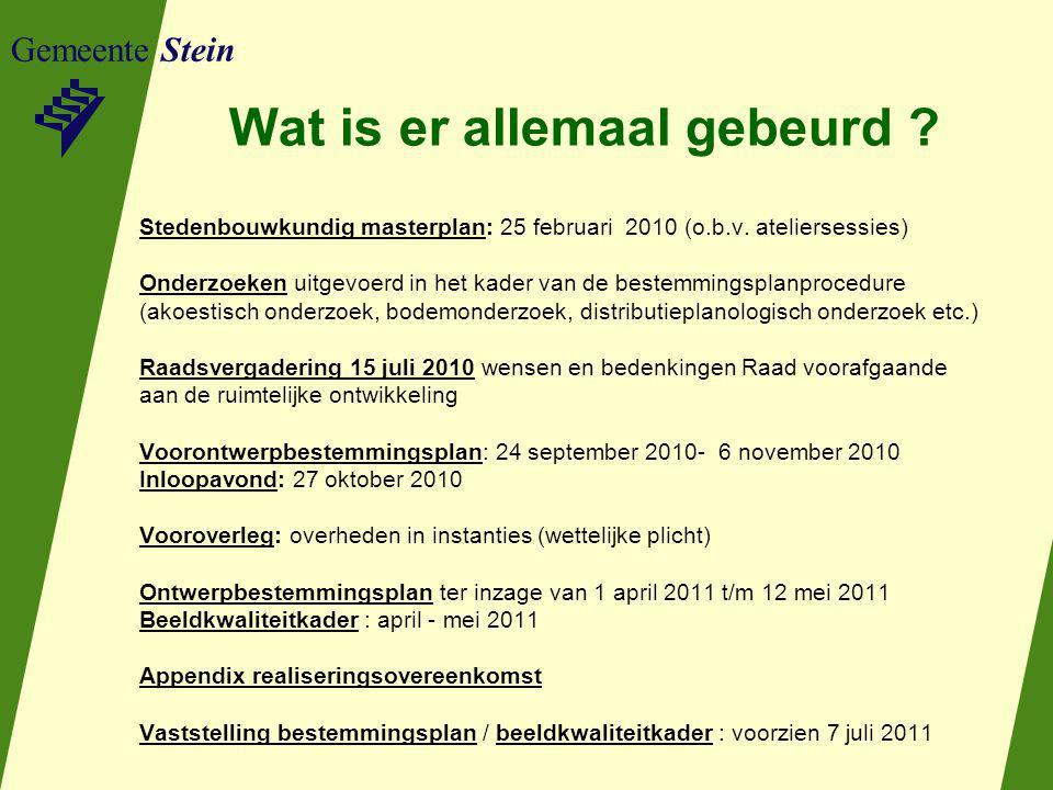 Gemeente Stein Wat is er allemaal gebeurd ? Stedenbouwkundig masterplan: 25 februari 2010 (o.b.v. ateliersessies) Onderzoeken uitgevoerd in het kader