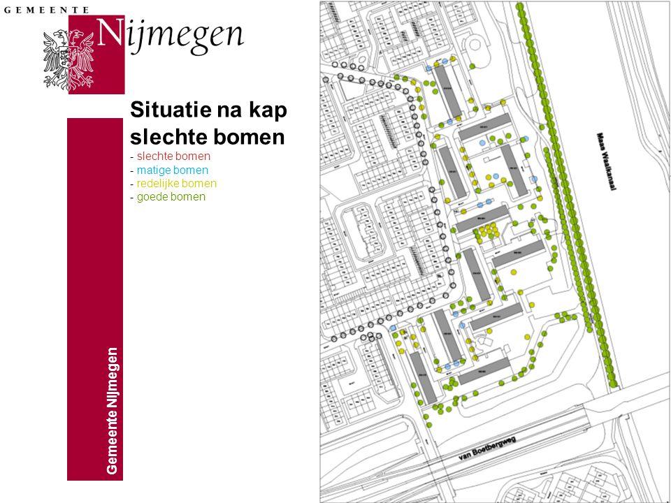 Gemeente Nijmegen Situatie na kap slechte bomen - slechte bomen - matige bomen - redelijke bomen - goede bomen