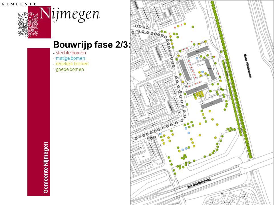 Gemeente Nijmegen Bouwrijp fase 2/3: - slechte bomen - matige bomen - redelijke bomen - goede bomen