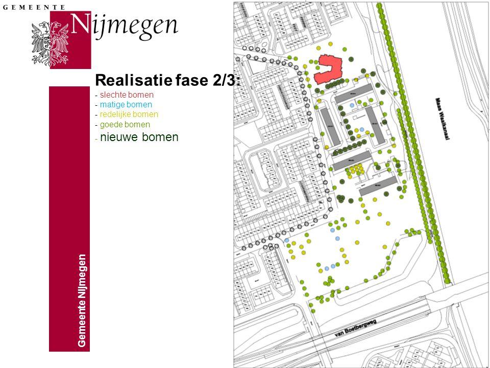 Gemeente Nijmegen Realisatie fase 2/3: - slechte bomen - matige bomen - redelijke bomen - goede bomen - nieuwe bomen