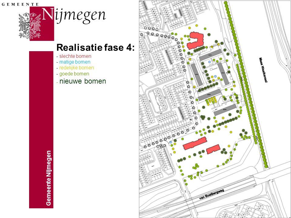 Gemeente Nijmegen Realisatie fase 4: - slechte bomen - matige bomen - redelijke bomen - goede bomen - nieuwe bomen