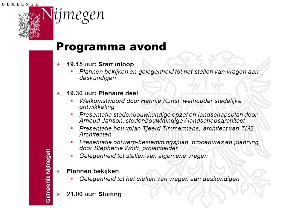 Gemeente Nijmegen Programma avond  19.15 uur: Start inloop  Plannen bekijken en gelegenheid tot het stellen van vragen aan deskundigen  19.30 uur: