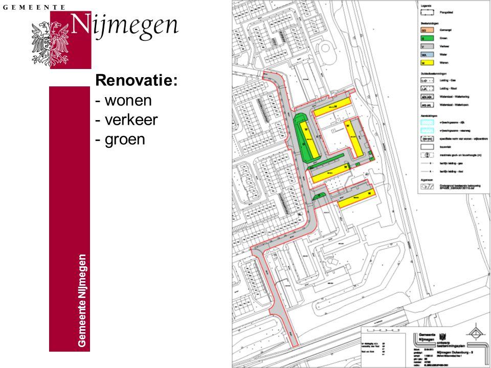 Gemeente Nijmegen Renovatie: - wonen - verkeer - groen