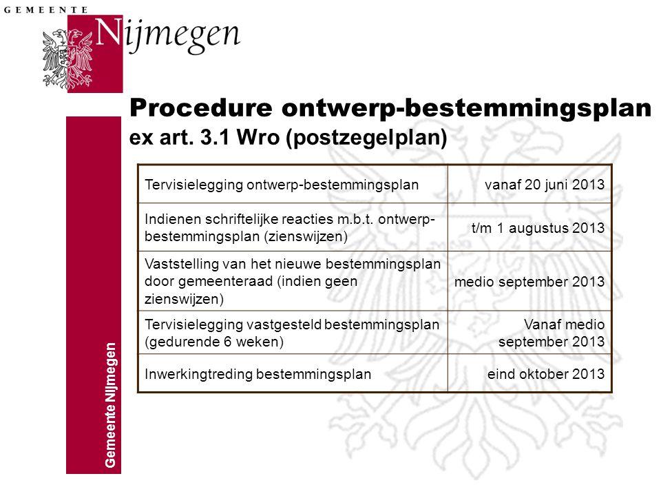 Gemeente Nijmegen Procedure ontwerp-bestemmingsplan ex art. 3.1 Wro (postzegelplan) Tervisielegging ontwerp-bestemmingsplanvanaf 20 juni 2013 Indienen