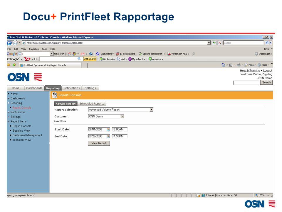 Docu+ PrintFleet Rapportage