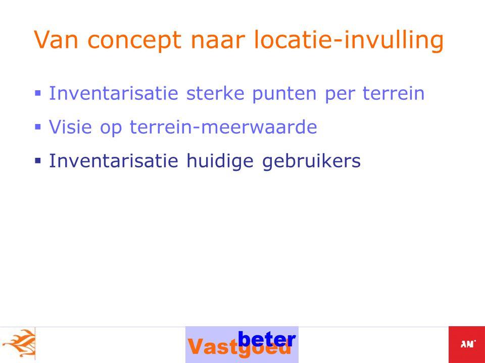  Inventarisatie sterke punten per terrein  Visie op terrein-meerwaarde  Inventarisatie huidige gebruikers Van concept naar locatie-invulling