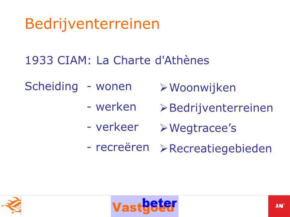 1933 CIAM: La Charte d Athènes Scheiding - wonen - werken - verkeer - recreëren Bedrijventerreinen  Woonwijken  Bedrijventerreinen  Wegtracee's  Recreatiegebieden