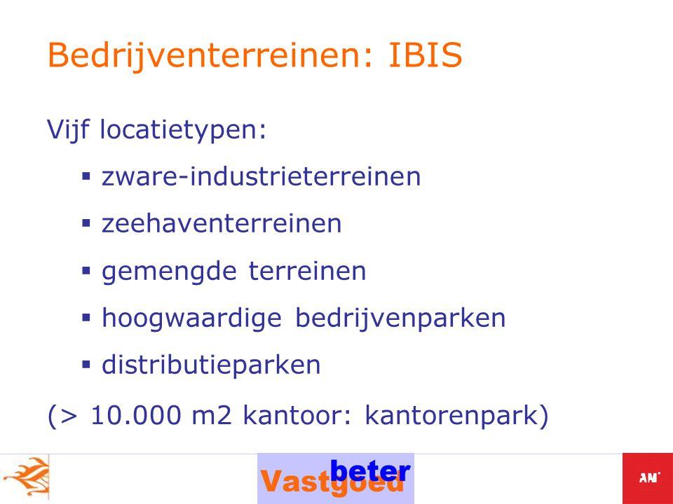 Vijf locatietypen:  zware-industrieterreinen  zeehaventerreinen  gemengde terreinen  hoogwaardige bedrijvenparken  distributieparken Bedrijventerreinen: IBIS (> 10.000 m2 kantoor: kantorenpark)
