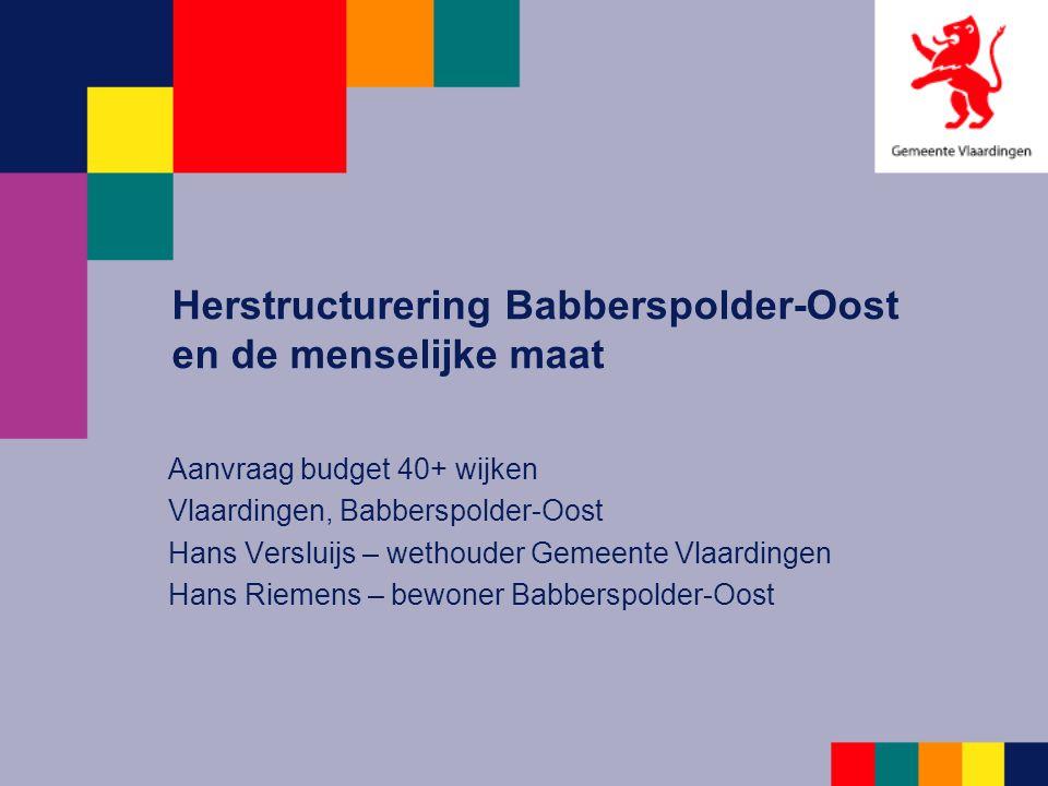 Ontstaan Babberspolder-Oost Jaren 50 vorige eeuw nam Vlaardingen verantwoordelijkheid om te voorzien in enorme behoefte aan arbeiderswoningen in de regio Snel en goedkoop gebouwd Oplossing van toen = probleem van nu