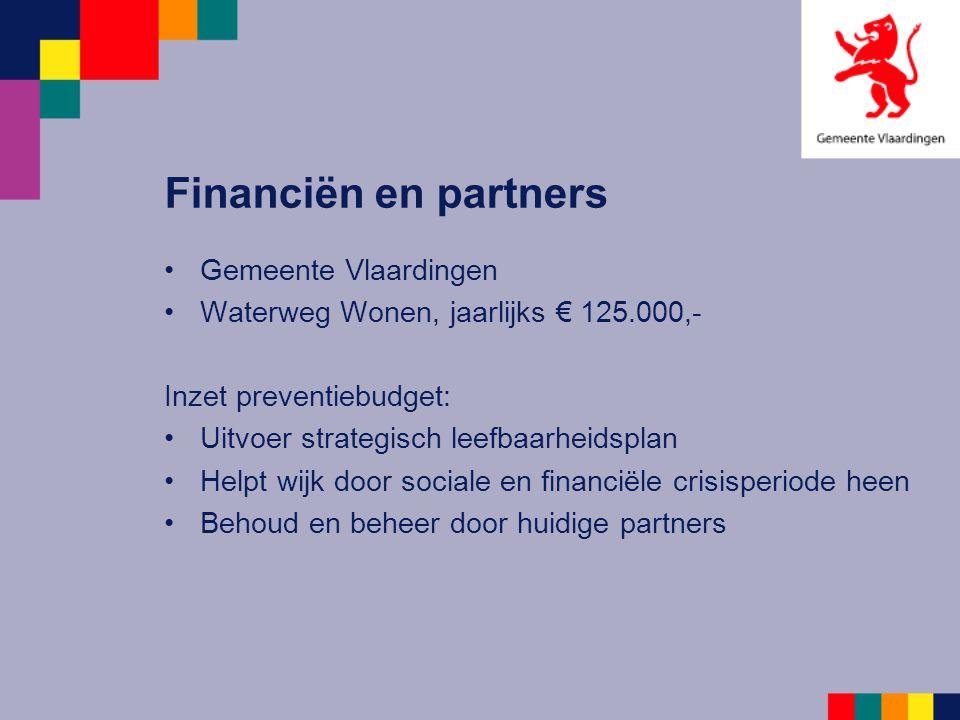 Financiën en partners Gemeente Vlaardingen Waterweg Wonen, jaarlijks € 125.000,- Inzet preventiebudget: Uitvoer strategisch leefbaarheidsplan Helpt wi