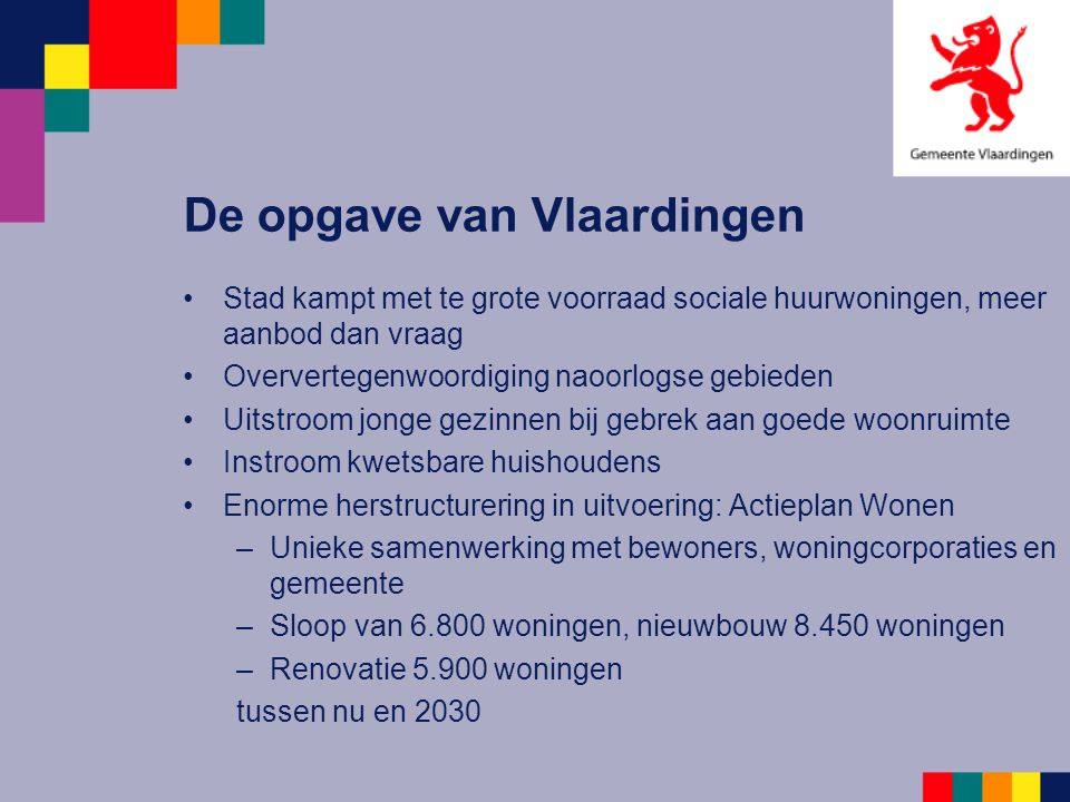 De opgave van Vlaardingen Stad kampt met te grote voorraad sociale huurwoningen, meer aanbod dan vraag Oververtegenwoordiging naoorlogse gebieden Uits