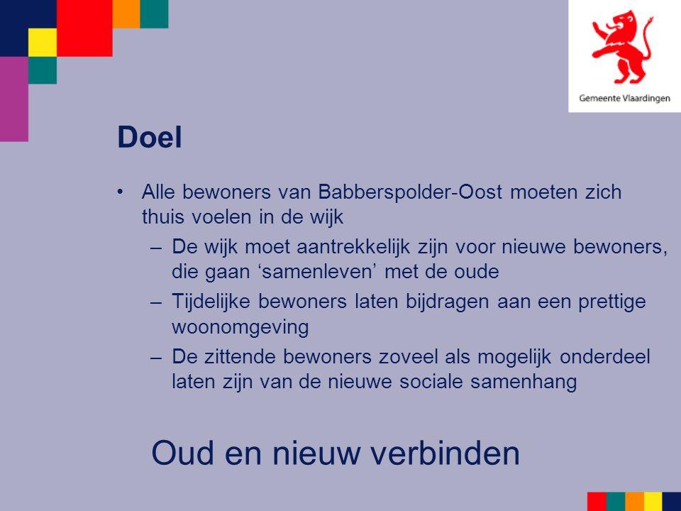 Doel Alle bewoners van Babberspolder-Oost moeten zich thuis voelen in de wijk –De wijk moet aantrekkelijk zijn voor nieuwe bewoners, die gaan 'samenle