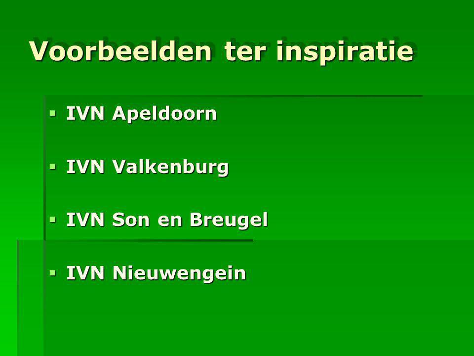 Voorbeelden ter inspiratie  IVN Apeldoorn  IVN Valkenburg  IVN Son en Breugel  IVN Nieuwengein