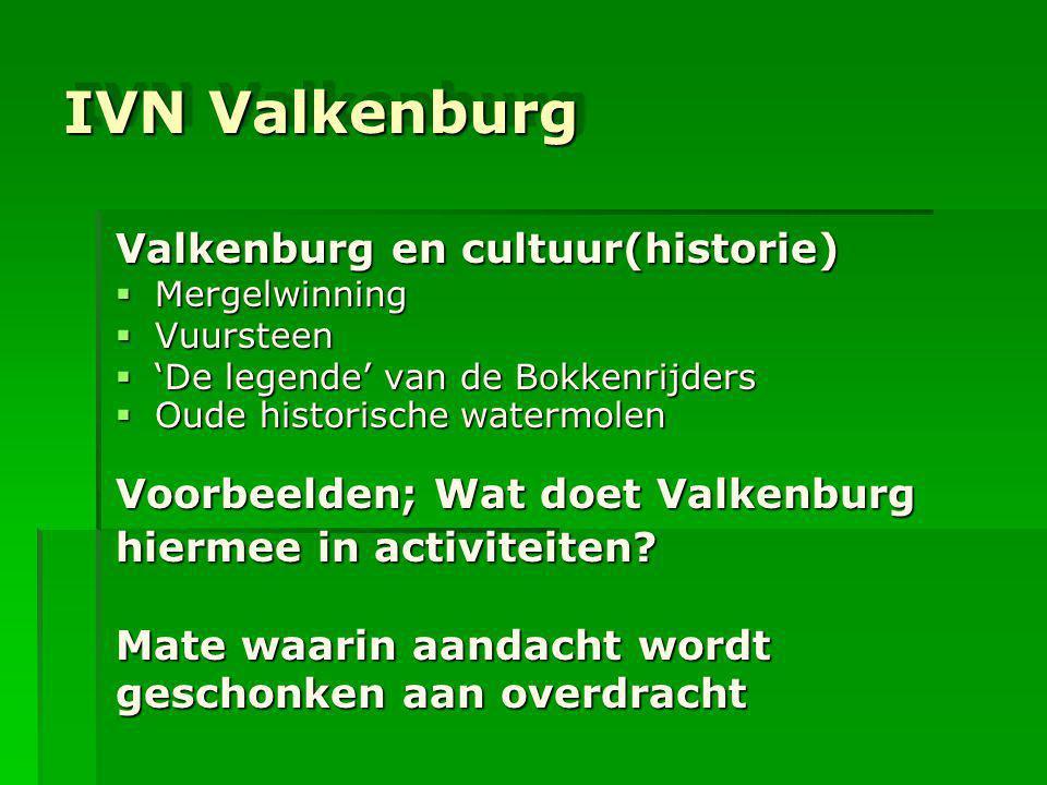 IVN Valkenburg IVN Valkenburg Valkenburg en cultuur(historie)  Mergelwinning  Vuursteen  'De legende' van de Bokkenrijders  Oude historische water