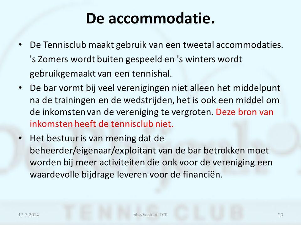 De accommodatie. De Tennisclub maakt gebruik van een tweetal accommodaties. 's Zomers wordt buiten gespeeld en 's winters wordt gebruikgemaakt van een
