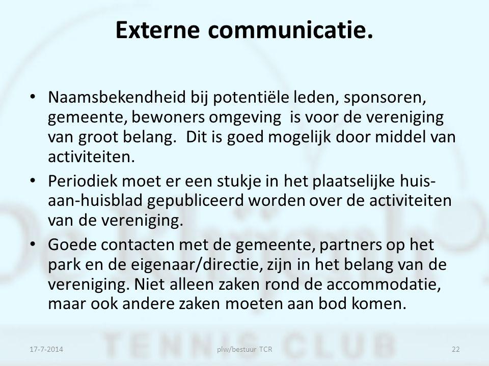 Externe communicatie. Naamsbekendheid bij potentiële leden, sponsoren, gemeente, bewoners omgeving is voor de vereniging van groot belang. Dit is goed