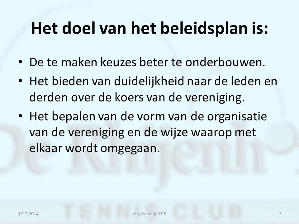 In het beleidsplan wordt aandacht besteed aan : De huidige en gewenste profilering van de tennissport en de vereniging.