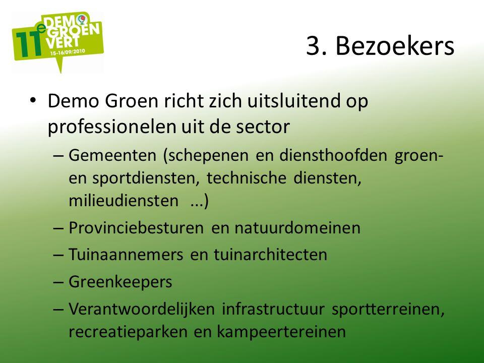 3. Bezoekers Demo Groen richt zich uitsluitend op professionelen uit de sector – Gemeenten (schepenen en diensthoofden groen- en sportdiensten, techni