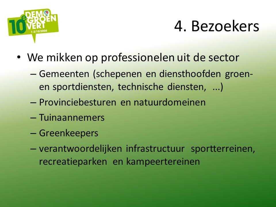 4. Bezoekers We mikken op professionelen uit de sector – Gemeenten (schepenen en diensthoofden groen- en sportdiensten, technische diensten,...) – Pro