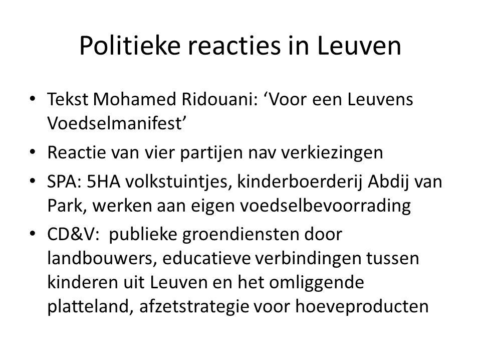 Politieke reacties in Leuven Tekst Mohamed Ridouani: 'Voor een Leuvens Voedselmanifest' Reactie van vier partijen nav verkiezingen SPA: 5HA volkstuint