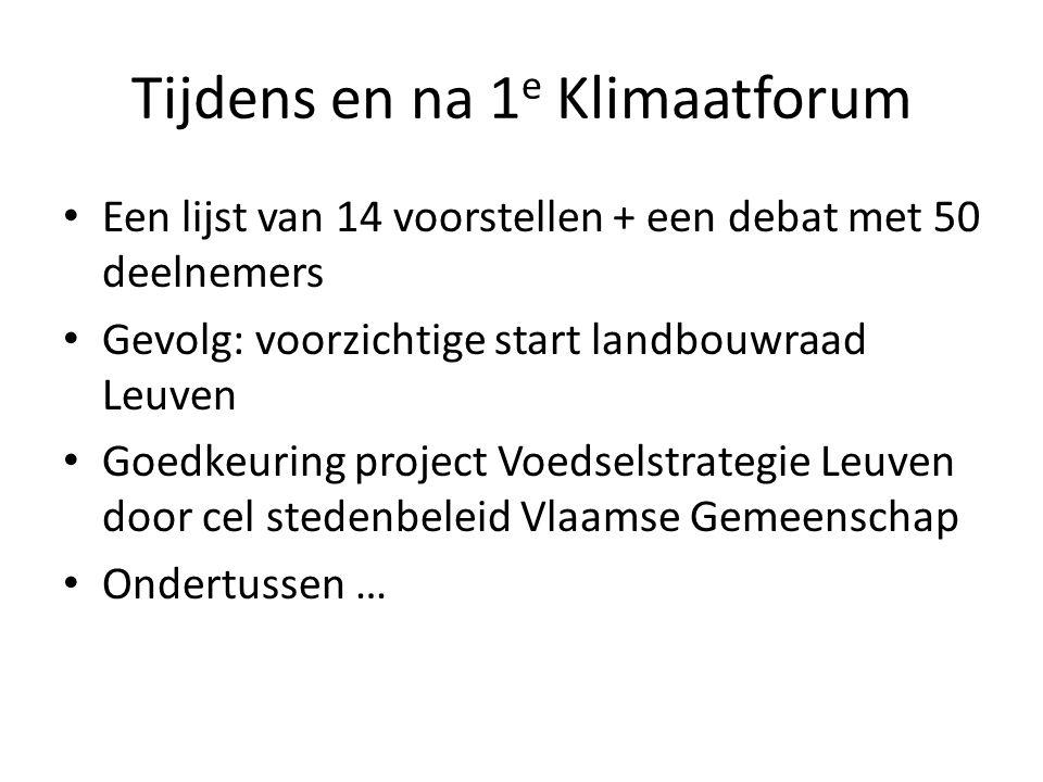 Tijdens en na 1 e Klimaatforum Een lijst van 14 voorstellen + een debat met 50 deelnemers Gevolg: voorzichtige start landbouwraad Leuven Goedkeuring p