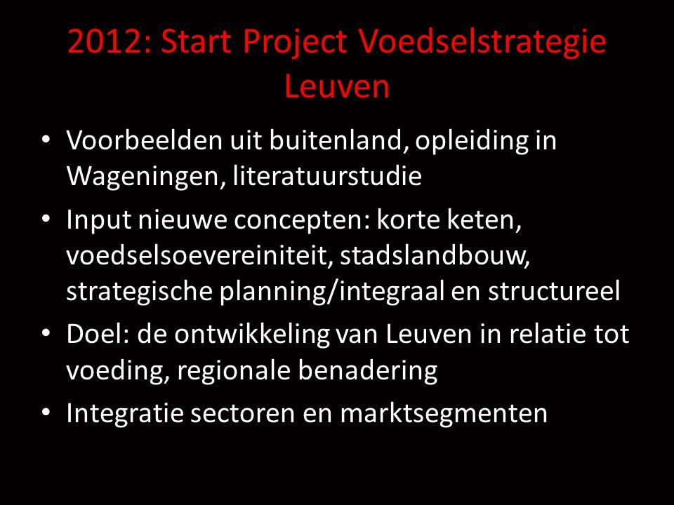 2012: Start Project Voedselstrategie Leuven Voorbeelden uit buitenland, opleiding in Wageningen, literatuurstudie Input nieuwe concepten: korte keten, voedselsoevereiniteit, stadslandbouw, strategische planning/integraal en structureel Doel: de ontwikkeling van Leuven in relatie tot voeding, regionale benadering Integratie sectoren en marktsegmenten