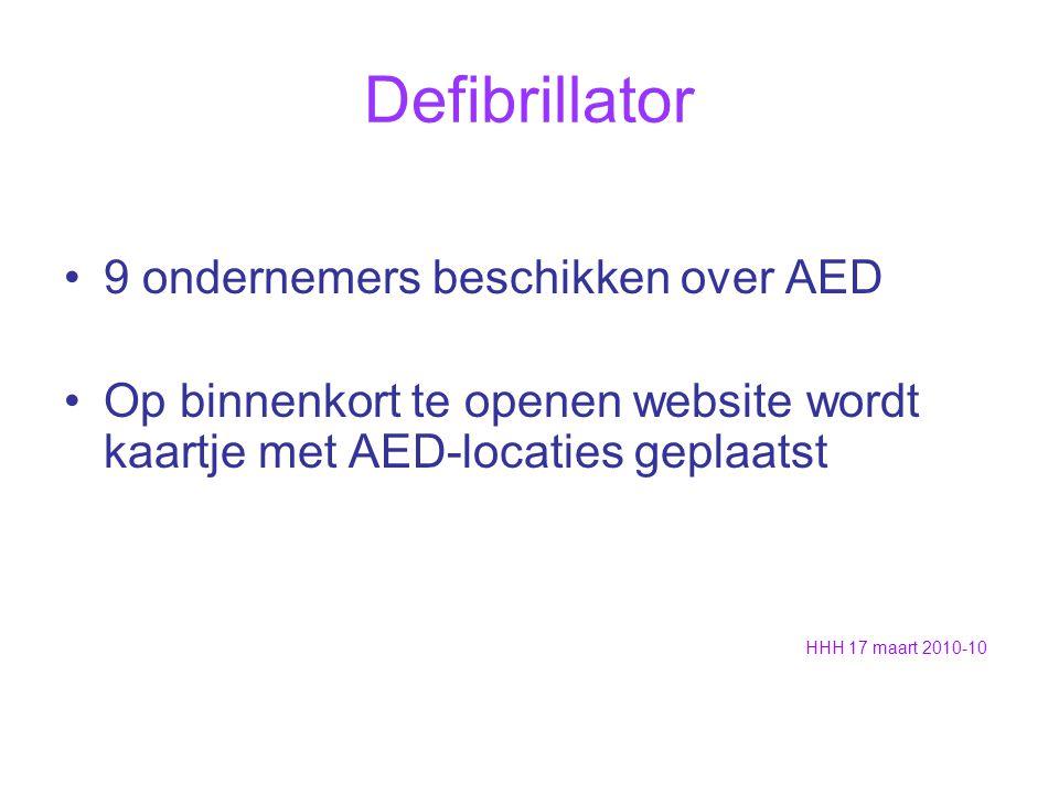 Defibrillator 9 ondernemers beschikken over AED Op binnenkort te openen website wordt kaartje met AED-locaties geplaatst HHH 17 maart 2010-10