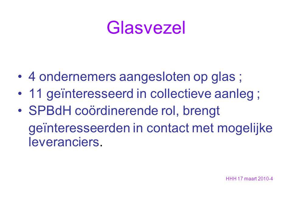 Glasvezel 4 ondernemers aangesloten op glas ; 11 geïnteresseerd in collectieve aanleg ; SPBdH coördinerende rol, brengt geïnteresseerden in contact met mogelijke leveranciers.