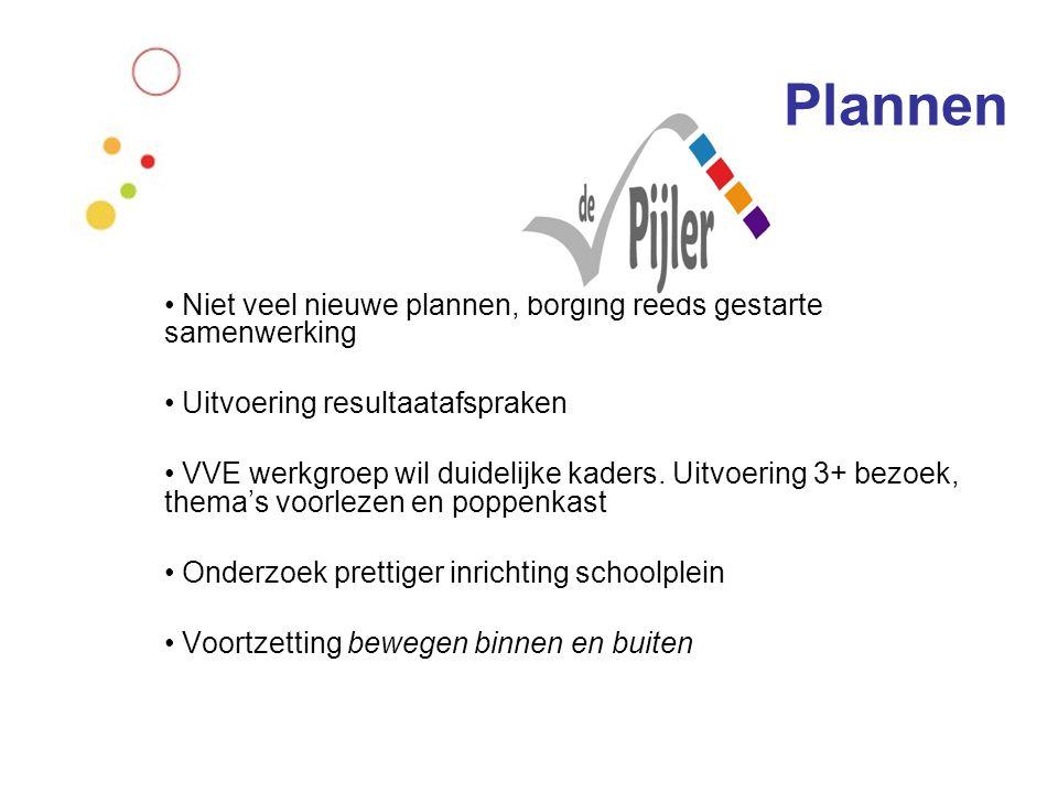 Plannen Niet veel nieuwe plannen, borging reeds gestarte samenwerking Uitvoering resultaatafspraken VVE werkgroep wil duidelijke kaders. Uitvoering 3+