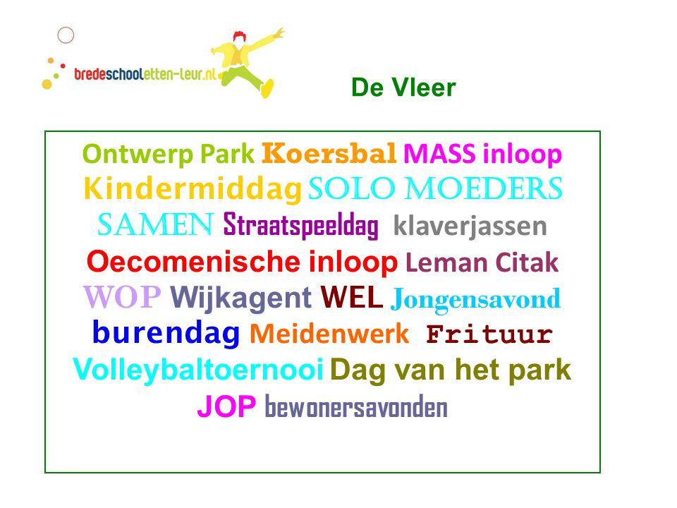 Ontwerp Park Koersbal MASS inloop Kindermiddag Solo moeders samen Straatspeeldag klaverjassen Oecomenische inloop Leman Citak WOP Wijkagent WEL Jongen