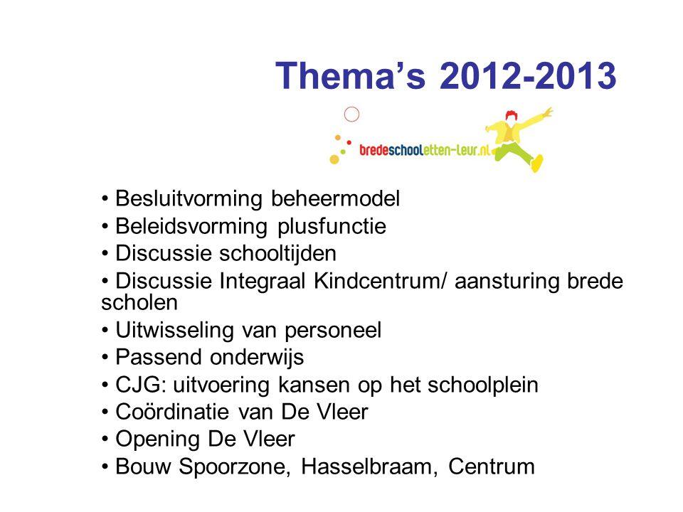Thema's 2012-2013 Besluitvorming beheermodel Beleidsvorming plusfunctie Discussie schooltijden Discussie Integraal Kindcentrum/ aansturing brede schol