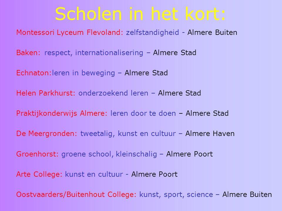 Scholen in het kort: Montessori Lyceum Flevoland: zelfstandigheid - Almere Buiten Baken: respect, internationalisering – Almere Stad Echnaton:leren in