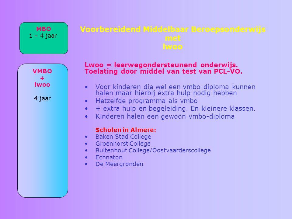 Voorbereidend Middelbaar Beroepsonderwijs met lwoo Lwoo = leerwegondersteunend onderwijs. Toelating door middel van test van PCL-VO. Voor kinderen die