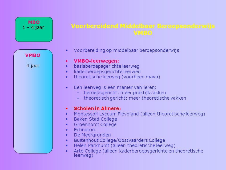 Voorbereidend Middelbaar Beroepsonderwijs VMBO Voorbereiding op middelbaar beroepsonderwijs VMBO-leerwegen: basisberoepsgerichte leerweg kaderberoepsg