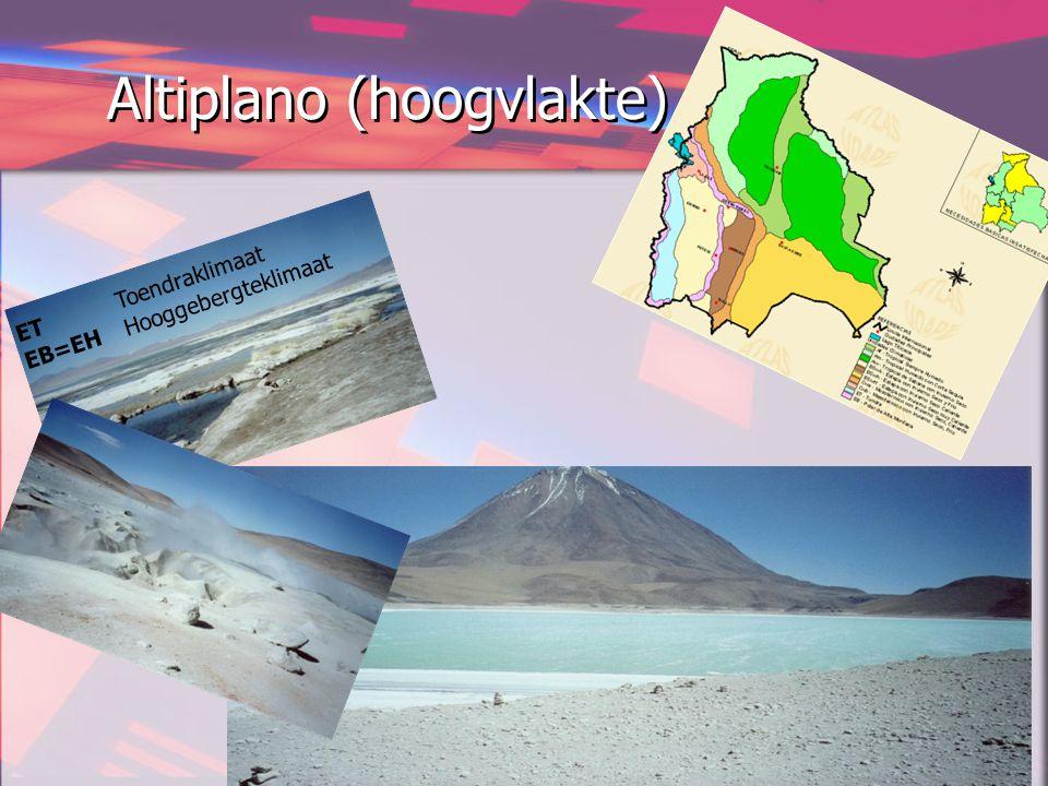 Altiplano (hoogvlakte) ET Toendraklimaat EB=EH Hooggebergteklimaat