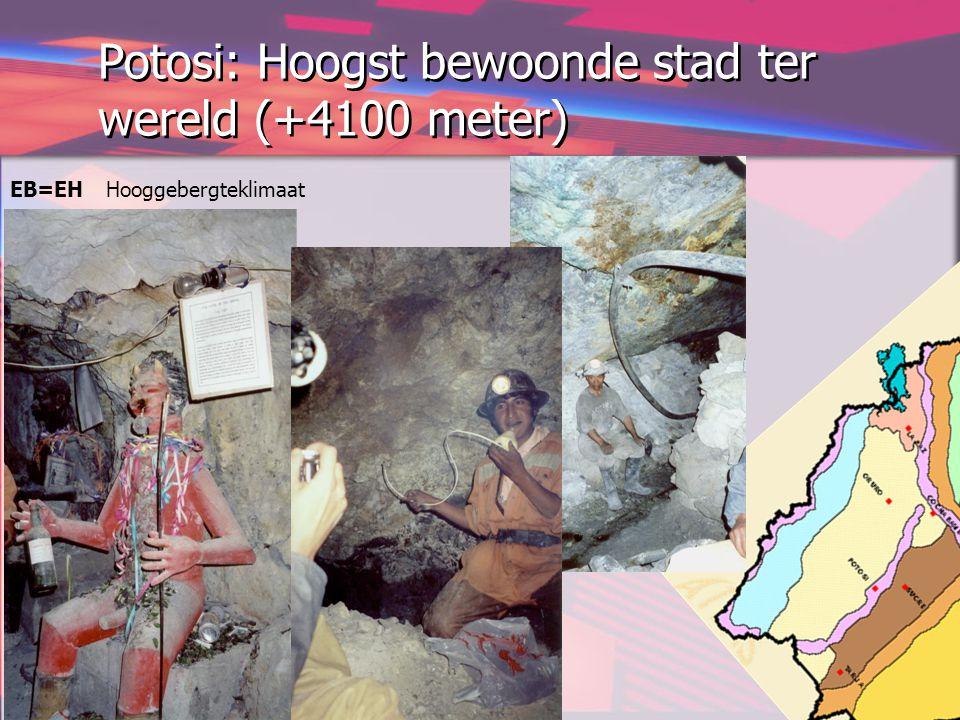 Potosi: Hoogst bewoonde stad ter wereld (+4100 meter) EB=EH Hooggebergteklimaat