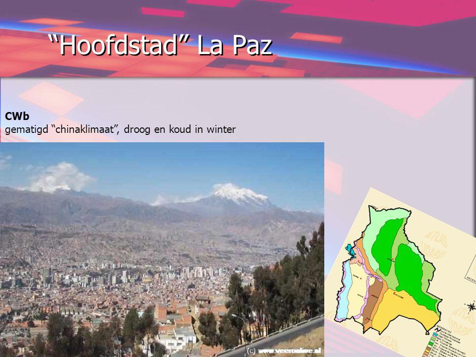 """Hoofdstad"" La Paz CWb gematigd ""chinaklimaat"", droog en koud in winter"