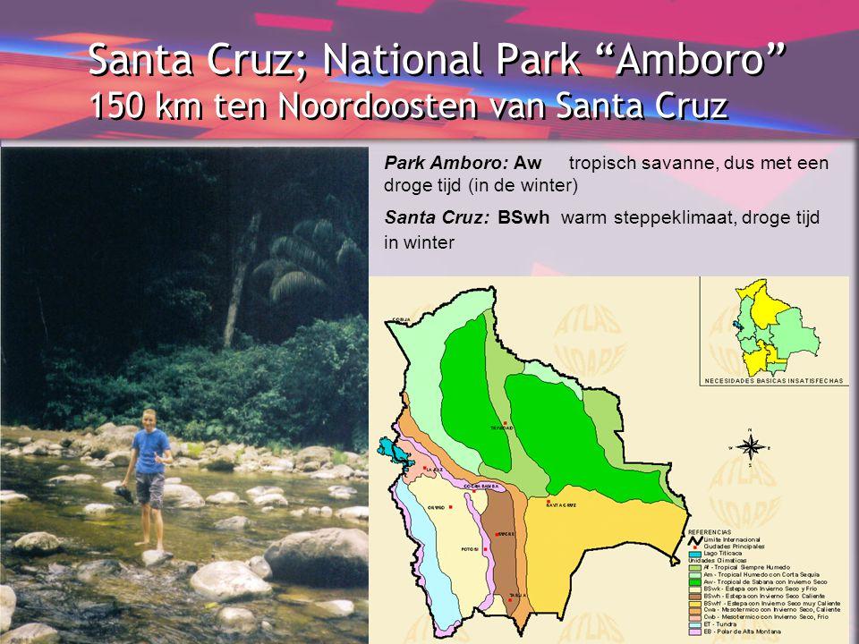 """Santa Cruz; National Park """"Amboro"""" 150 km ten Noordoosten van Santa Cruz Park Amboro: Aw tropisch savanne, dus met een droge tijd (in de winter) Santa"""