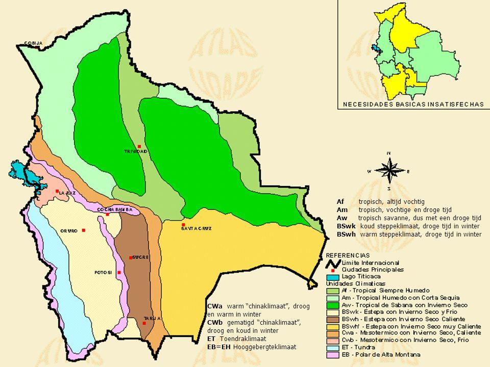 Bolivia Fysisch Bolivia is gelegen in het centrum van het Andesgebergte In Bolivia: twee evenwijdig lopende bergketens Daartussen: Altiplano (hoogvlakte) op +4000 meter, grenst in het noorden aan het Titicaca-meer en in het zuidwesten aan een gebied met woestijnen en zoutmeren.