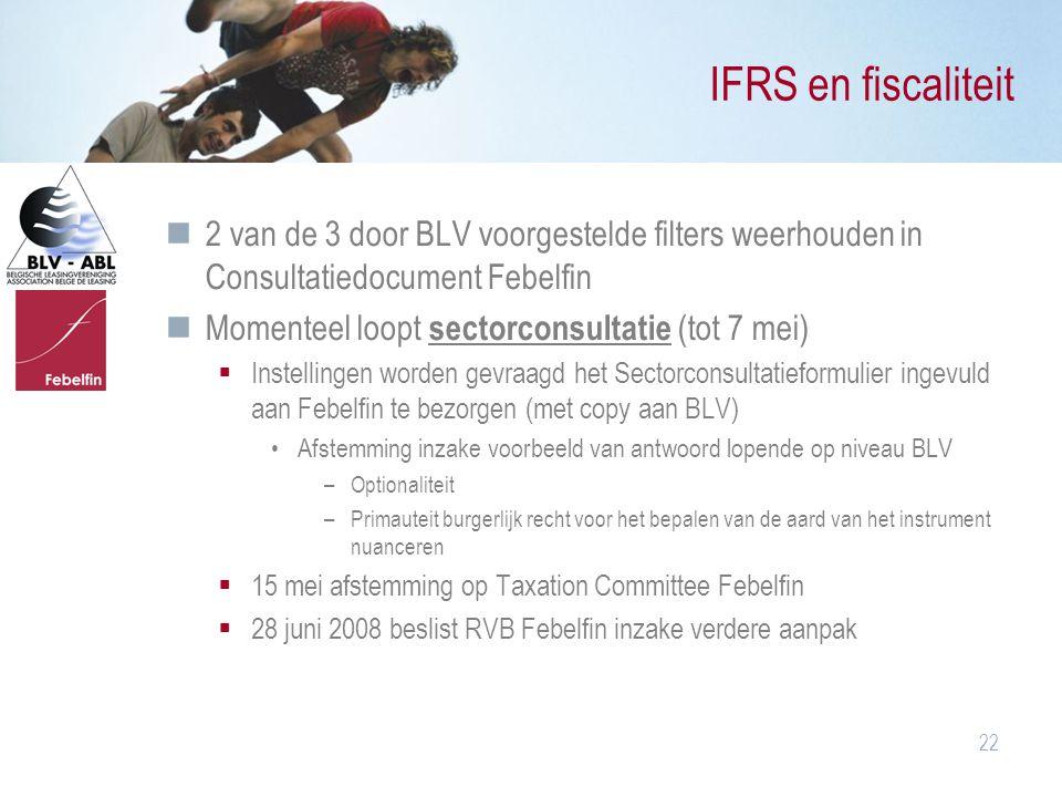 22 IFRS en fiscaliteit 2 van de 3 door BLV voorgestelde filters weerhouden in Consultatiedocument Febelfin Momenteel loopt sectorconsultatie (tot 7 me