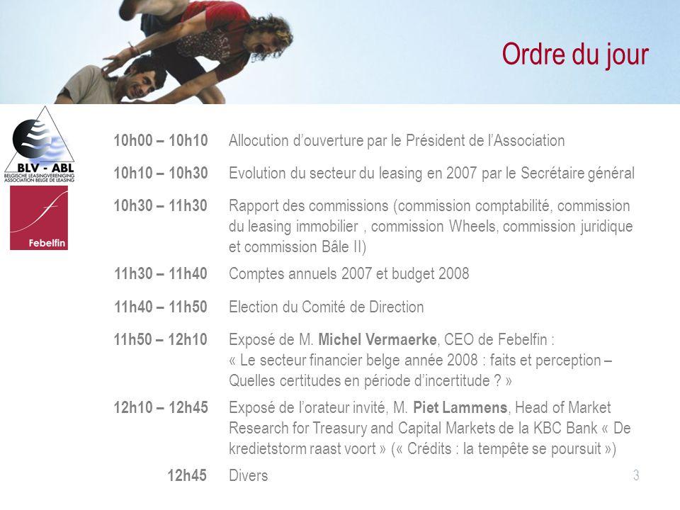 3 Ordre du jour 10h00 – 10h10 Allocution d'ouverture par le Président de l'Association 10h10 – 10h30 Evolution du secteur du leasing en 2007 par le Se