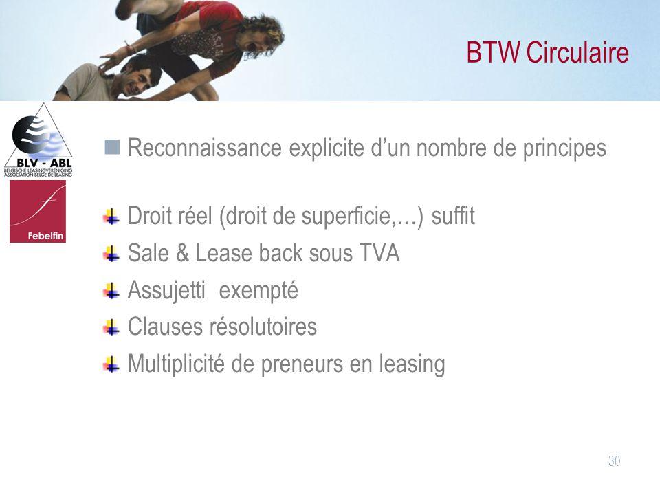 30 BTW Circulaire Reconnaissance explicite d'un nombre de principes Droit réel (droit de superficie,…) suffit Sale & Lease back sous TVA Assujetti exe
