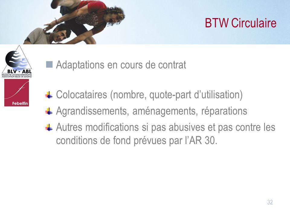 32 BTW Circulaire Adaptations en cours de contrat Colocataires (nombre, quote-part d'utilisation) Agrandissements, aménagements, réparations Autres mo